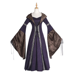 Women Vintage Medieval Pagan Wedding Hooded Dress Romantic Fantasy Gown Floor Length Renaissance Dress Cosplay Retro Witch