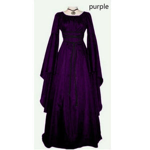 Women Retro Style Medieval Dress Gothic Dress Floor Length Witch Cosplay Party Gown Dress