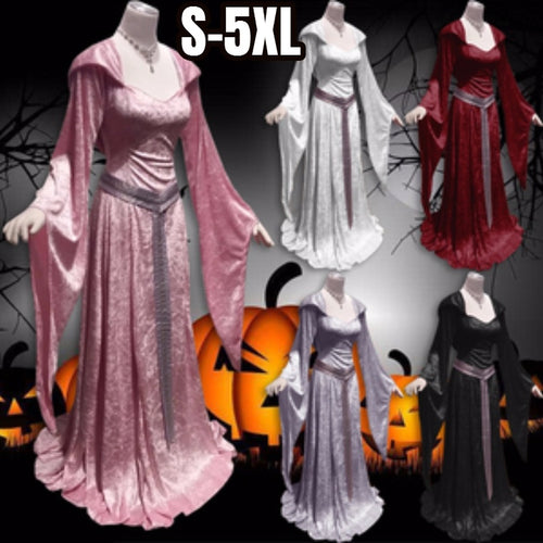 Halloween Cosplay Dress Women Fashion 2018 Vintage Hooded Witch Cloak Tunic Trumpet Sleeves Long Dress High Waist Long Sleeve Dr