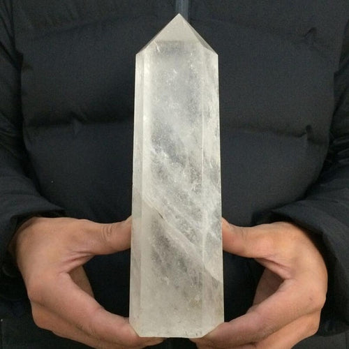 1pcs 400g Natural Rock White Quartz Obelisk Crystal Wand Point Healing