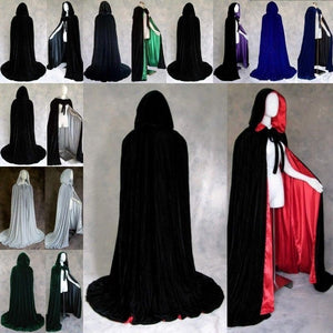 Hooded Velvet Cloak Cape Halloween Costume Medieval Pagan Witch Wicca Vampire New