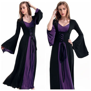 Hot Selling New Gothic Queen Cosplay Costume Black Purple Patchwork Witch Hooded Ankle-Length Dress For Women Halloween Witch
