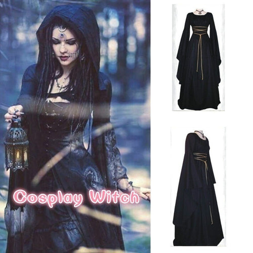 Home Decor Women Halloween Cosplay Witch Dresses Renaissance Vintage Style Gothic Dress Floor Length  Without Belt  Medieval Dre