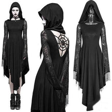 Load image into Gallery viewer, Gothic Cosplay Ghost Black Irregular Dresses Sexy Backless Hooded Dress Halloween Costume Long Sleeve Witch Maxi Dress Plus Size