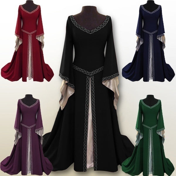 S-5XL Women's Summer Fashion Sexy Medieval Dress Casual Floor Length Cosplay Costume Velvet Dresses Sexy Lace Cloaks Cape Hallow