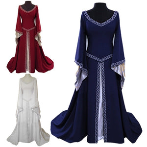 Women Autumn Flare Sleeve V-Neck Medieval Dress Witch Dark Magic Cosplay Renaissance Party Dress