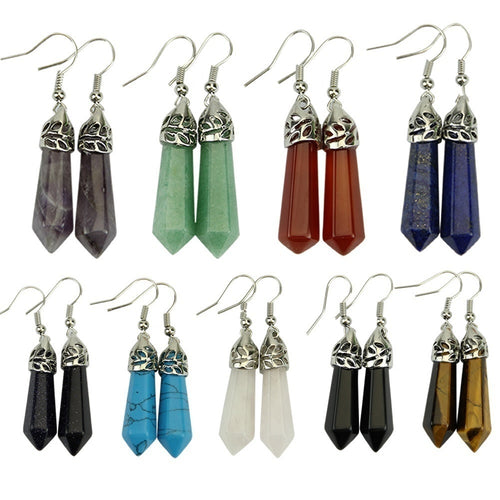 Fashion Hexagonal Pendulum Gemstone Beads Column Dangle Earrings EardropANG