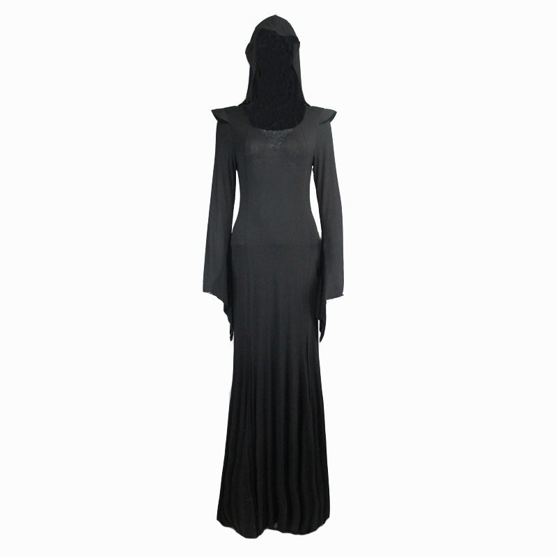 Devil Fashion Gothic Black Hooded Long Dress Steampunk Halloween Women Sexy Costume Witch Dresses