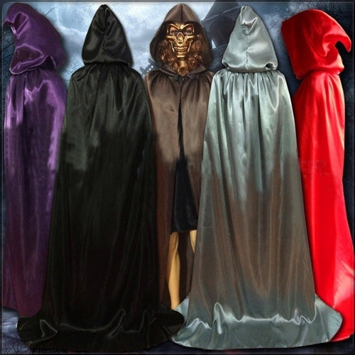 Hot Sale Halloween Hooded Stain Cloak Robe Witch Larp Cape Halloween Party Costume