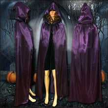 Load image into Gallery viewer, Hot Sale Halloween Hooded Stain Cloak Robe Witch Larp Cape Halloween Party Costume