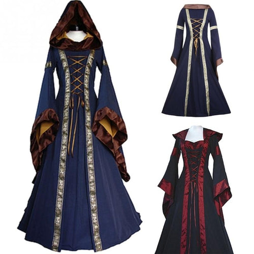 Halloween Victorian Dress Cosplay Costumes Scary Vampire Witch Clothes Women Medieval Masquerade Costume Black Fancy Maxi Dress