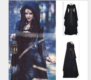 Women Medieval Dress Renaissance Retro Gown Cosplay Costume Dress Long Lseeve Maxi Dress Bandage Dresses New Fashion