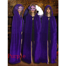 Load image into Gallery viewer, Hooded Velvet Cloak Cape Halloween Costume Medieval Pagan Witch Wicca Vampire New