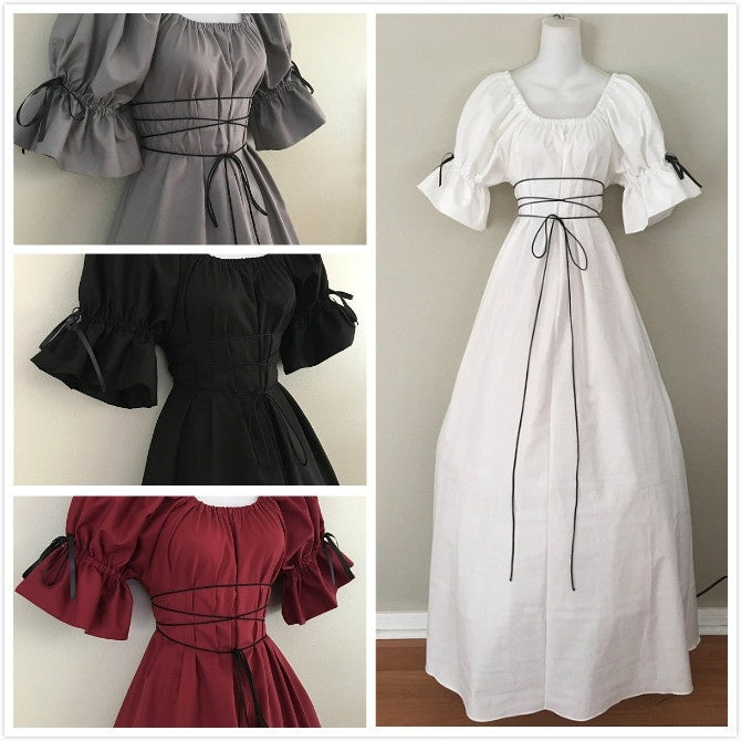 Vintage Style Women Medieval Dress Gothic Dress Floor Length Women Cosplay Dress Retro Long Gown Dress 9 Colors Available