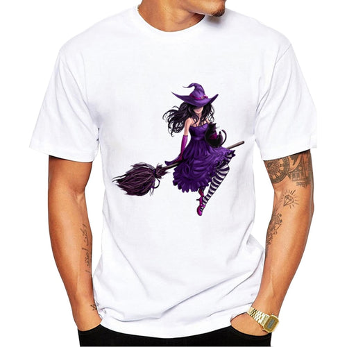new arrivals men's fashion creative Halloween Style t-shirt Harajuku East Germany Witchcraft Purple Witch t shirt Hipster tops