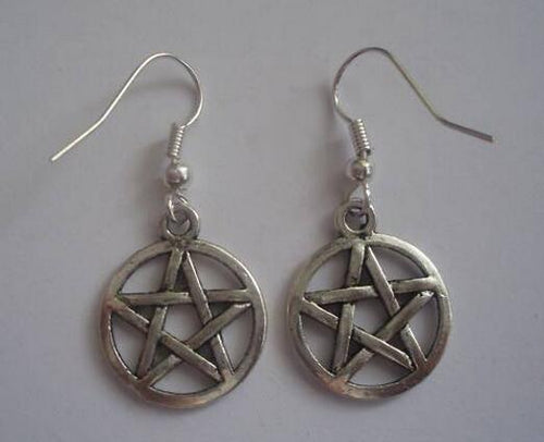 Silver Plated Pentagram Star Charms Dangle Earrings Goth Witch Wiccan Pagan New