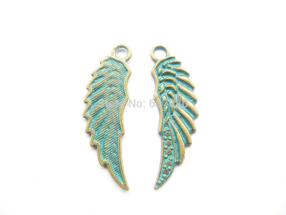 10pcs Tone Feather Angel Wing Charms Pendants Beads Pagan Wicca For hand made Necklace bracelet headband and other jewellry DIY