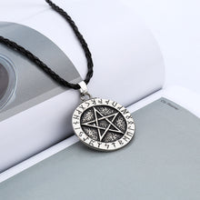 Load image into Gallery viewer, Pendant Necklace Large Rune Nordic Viking Pentagram Jewelry Wiccan Pagan Norse