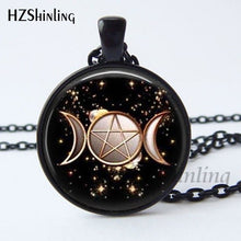 Load image into Gallery viewer, 2017 New Arrival Wiccan Pendant Necklace Witchcraft Pagan Pentagram Black   Magic Necklace  Glass cabochon Jewelry HZ1