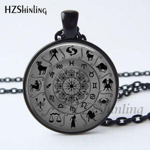 2017 New Arrival Wiccan Pendant Necklace Constellations Of The Zodiac Wicca Pagan Jewelry Glass cabochon Jewelry HZ1
