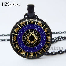 Load image into Gallery viewer, 2017 New Arrival Wiccan Pendant Necklace Constellations Of The Zodiac Wicca Pagan Jewelry Glass cabochon Jewelry HZ1