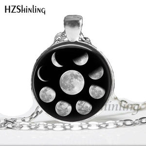 2017 New Arrival Wiccan Pendant Necklace Lunar Cycle Moon Phases Moon Nebula Pagan Necklace Glass cabochon jewelry HZ1