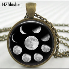 Load image into Gallery viewer, 2017 New Arrival Wiccan Pendant Necklace Lunar Cycle Moon Phases Moon Nebula Pagan Necklace Glass cabochon jewelry HZ1