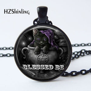 2017 New Arrival Wiccan Pendant Necklace Witchcraft Pagan Pentagram Black  Black Magic Jewelry Glass cabochon Jewelry HZ1