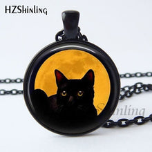 Load image into Gallery viewer, 2017 New Arrival Wiccan Pendant Necklace Witchcraft Pagan Pentagram Black  Black Magic Jewelry Glass cabochon Jewelry HZ1