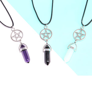 12pcs/lot Pentagram and Crystal Necklace Wiccan  Pagan Jewellery Opalite Moonstone Crystal Spiritual Choker