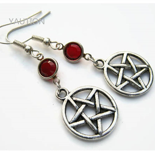 1 Pair Pentacle Birthstone Earrings, Personalized Earrings, Pagan Earrings, Witch Earrings