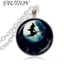 Load image into Gallery viewer, Sexy Witch with Broom Necklace Full Moon Pendant Wiccan Pagan Jewelry Glass Cabochon Sweater Chain Necklace Cat Jewellery gift