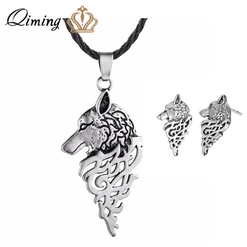 QIMING Viking Animal Jewelry Sets Punk Wolf Earrings Women Men Slavic Necklace Nordic Pagan Retro Man Jewelry Stus Earring Gift