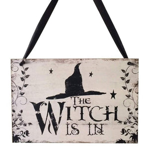 Halloween Welcome Sign Hanging Tag With Witch Hat Pattern Decoration Props
