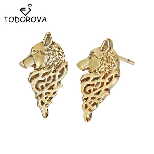 Todorova Nordic Viking Wolf Men Earrings Star Amulet Slavic Talisman Pagan Stud Earrings Odin 's Symbol Viking Rune Jewelry