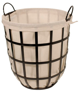 Round Metal Log Basket with Liner