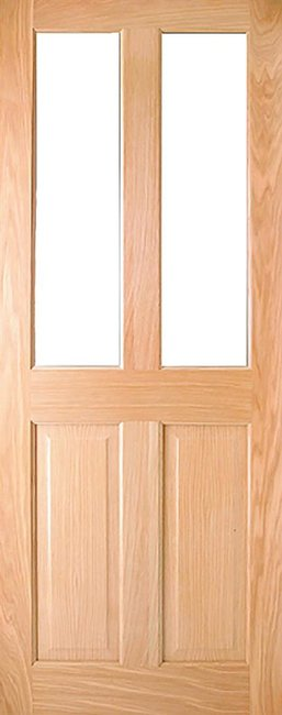 Indoors Addison Pre-Fin Oak 2-Lite Unglazed Door 80X32