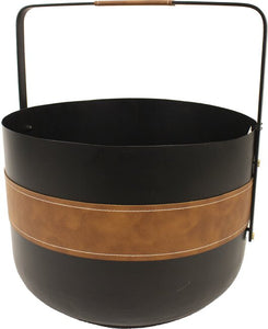 Contemporary Round Log Bucket with Leather Bang