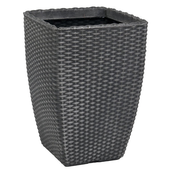 Tall Rattan Planter Pewter 32X41cm