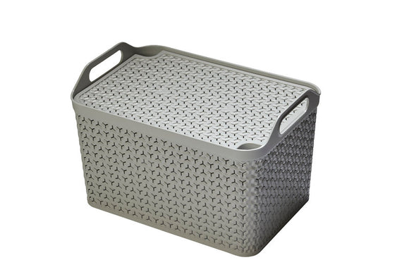 Large Handy Basket With Lid Grey