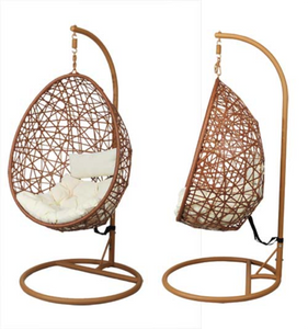 Hanging Egg Chair, Natural Rattan Ivory Cushion