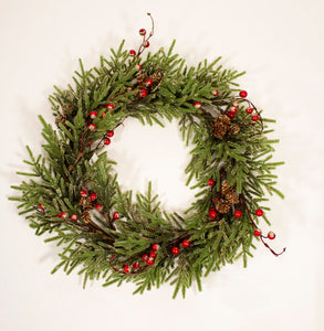 55cm Red Berry Pine Christmas Wreath