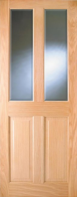 Indoors Addison Pre-Fin Oak Bev Glass Door 80X32