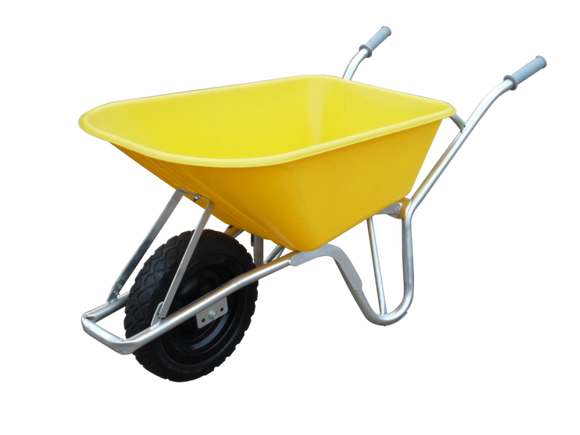 100ltr. Yellow Hd Sitebuilder Wheelbarrow C/W Pumped Wheel -Asse