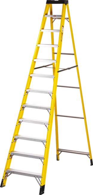 12 Step Single-Sided Fibreglass Step Ladder