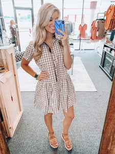 Burgundy Plaid Button Up Dress
