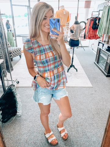Rainbow Plaid Top
