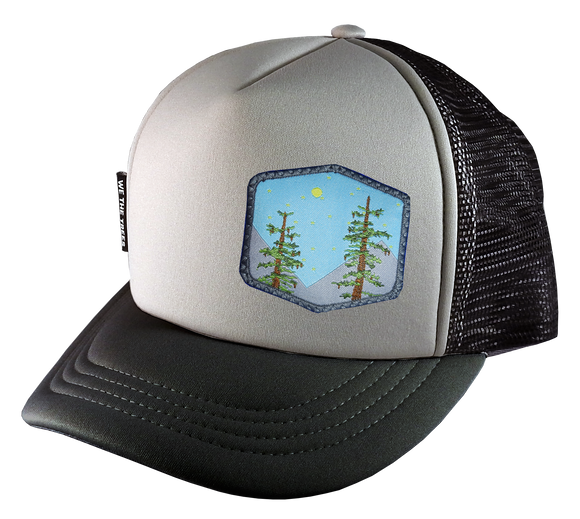 Gray Black Trucker Hat 58 cm Trees