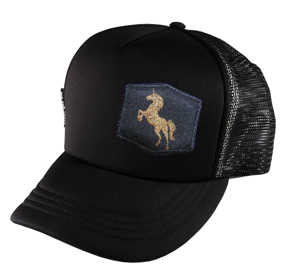 Black Trucker 58 cm Large Golden Unicorn