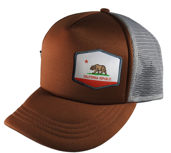 Brown Gray Trucker Hat Large 58 cm Cali